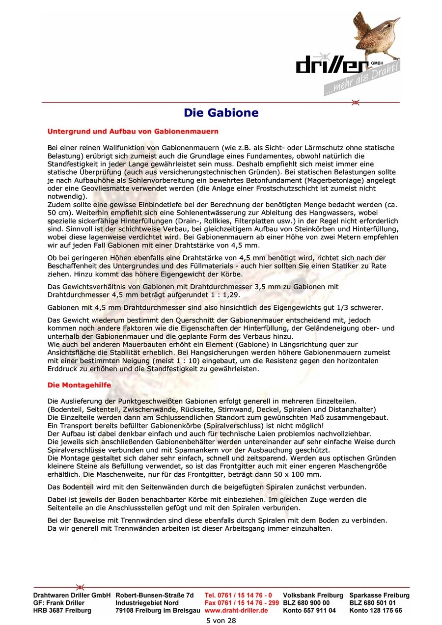 Gabione Untergrund Aufbau
