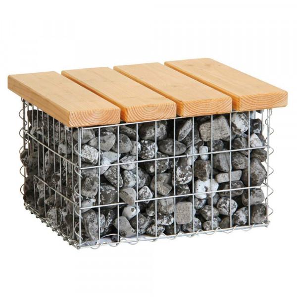 Gabionen Garten Sessel Stein Holz Tisch