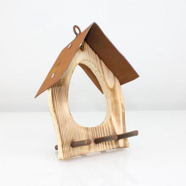 Vogelhaus für Garten mit Öse aus Corten-Stahl und Holz