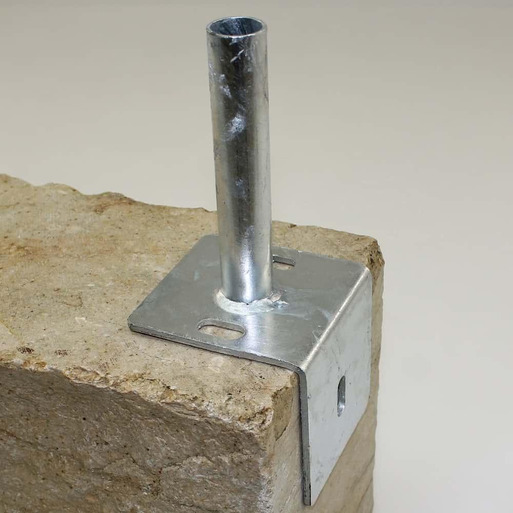 Bodenplatte Fur Rundpfosten 34mm Auf L Stein Verzinkt