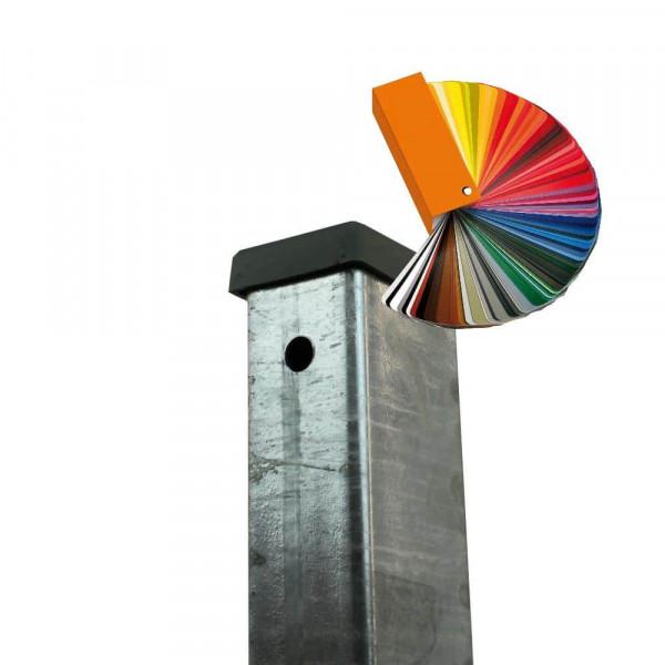 Hakenschraube und Zaunpfosten für Gitter mit Flachstahl 20x5 mm