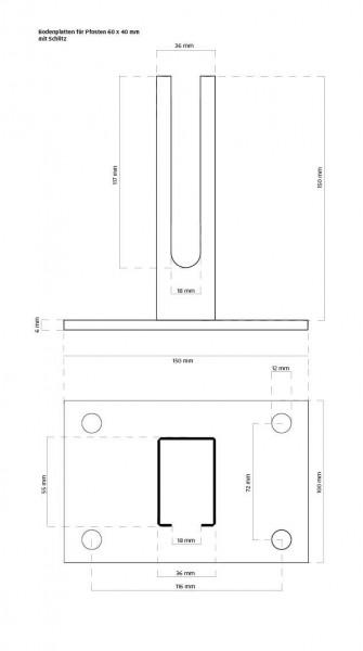 Zeichnung mit Abmessungen Bodenplatte Rechteckrohr