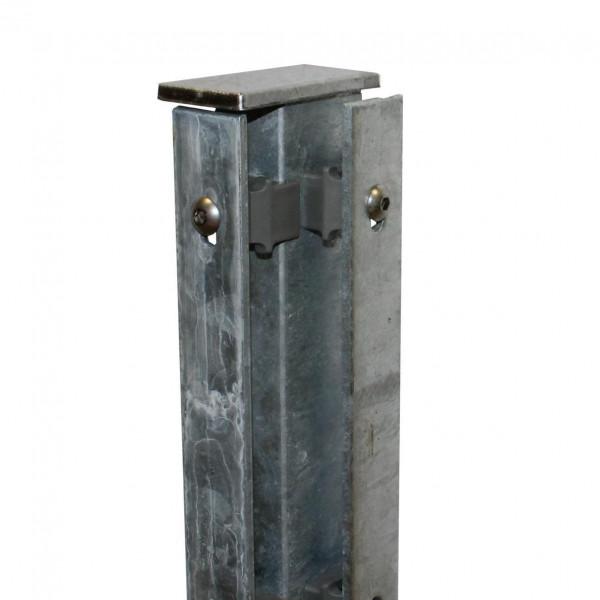 Zaunpfosten für Ecke 63 cm, Rechteckprofil 60x40 mm verinkt