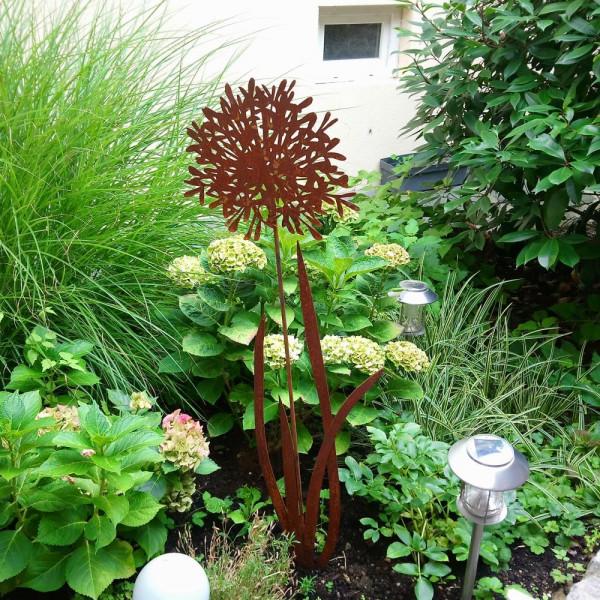 Blumenstecker aus Kortenrost Blech Dekoration