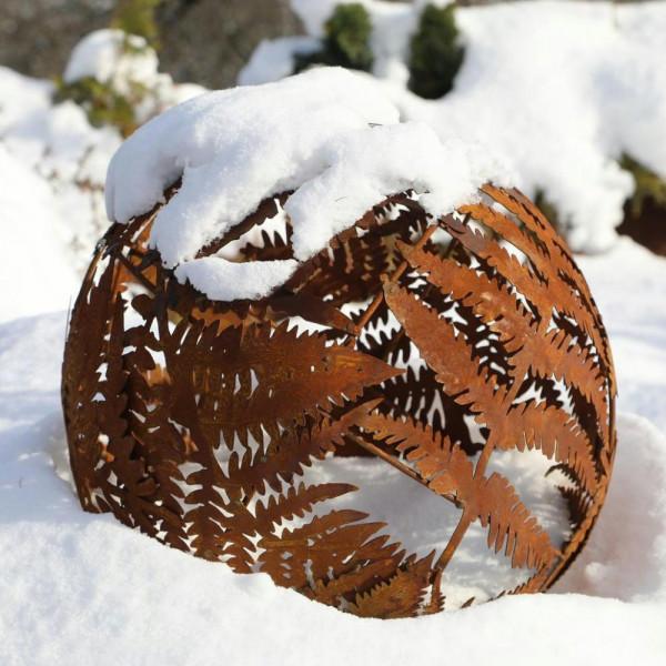 Farn Kugel Metall Edelrost Dekoration Garten