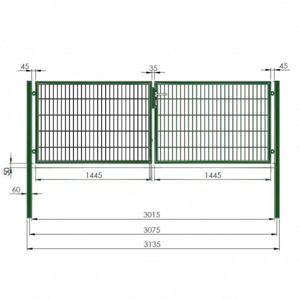 Zaunsäule verzinkt zum Einbetonieren Höhe 1500mm; Zaun Tor Säule Metall Zäune