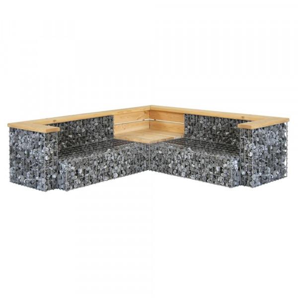 Gabionen Garten Couch Stein Holz