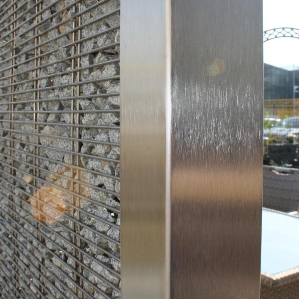 Edelstahlgabione Pfosten 1800 mm Anfang-/Ende Bodenplatte