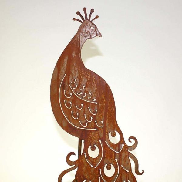 Vogel Pfau Gartenstecker Dekoration Corten