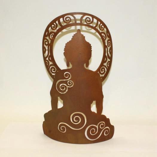 Asiatische Figur meditierend aus Rost