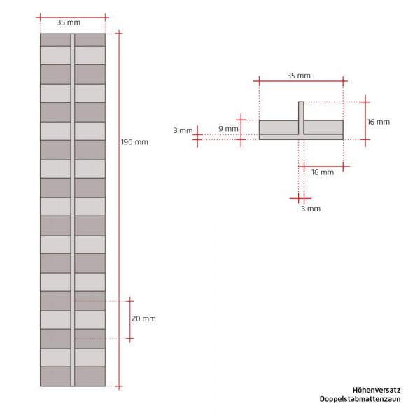 Montage mit Höhenversatz an Pfosten Stahlmattenzaun
