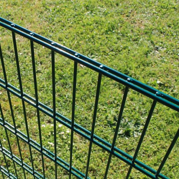 Drahtgitterzaun um Hunde im Garten halten.