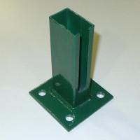 Bodenplatte für Rechteckrohr 60 x 40 mm, 100 x 100 x 4,0mm, grün +S