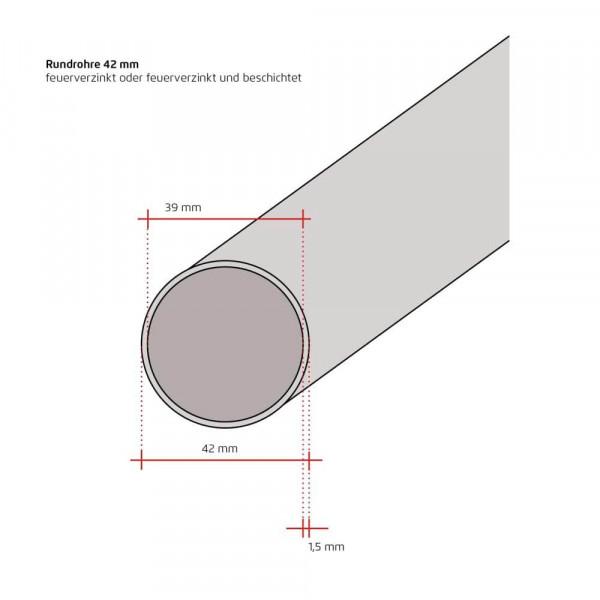 Zaunpfosten rund 42 mm Wandstärke 1,5 mm