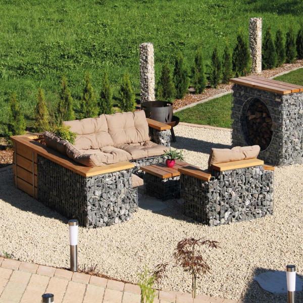 Gabione Ecksofa Gartenmöbel Lounge Sitzecke