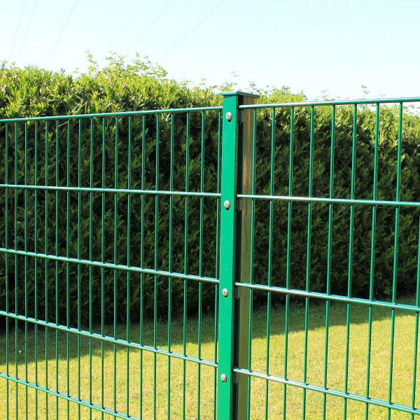 Zaunset Angebot  Doppelstabmatte und Pfosten grün