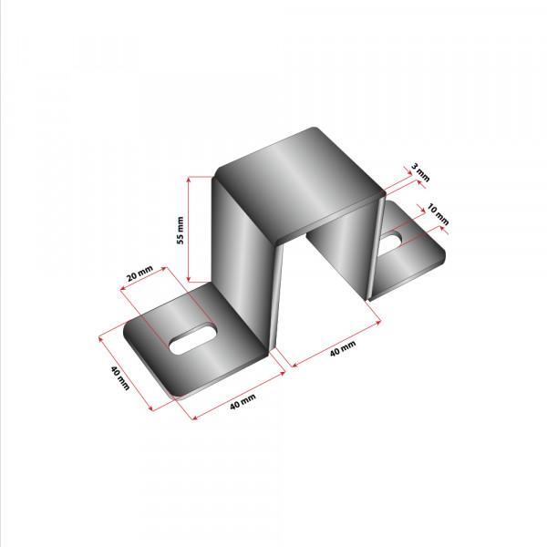 Wandhalterung 60x40 Pfosten Stahlrohr Technische Zeichnung