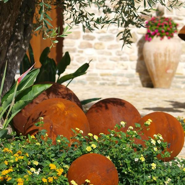 Gartendekoration Edelrost Kugel