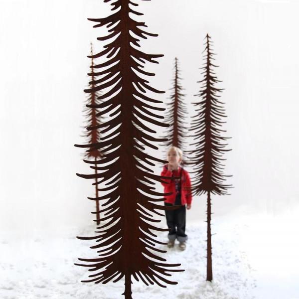 Tanne lang dünn schmal Corten Rost Gartenstecker 160 cm TaLa160