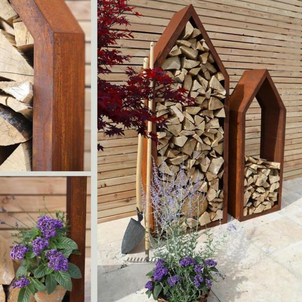 Brennholzlager Deisgn Haus Edelrost Modern HoHa