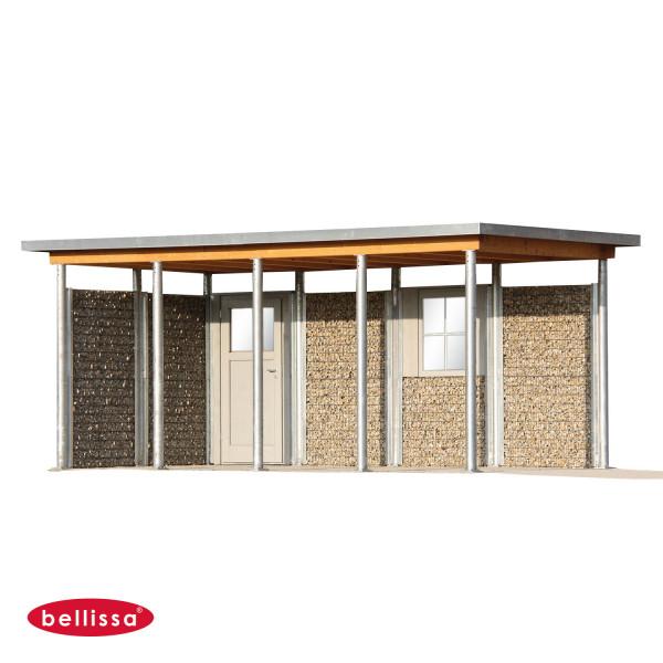 Pfostenhülsen für Dachmontage auf Gabionenwand