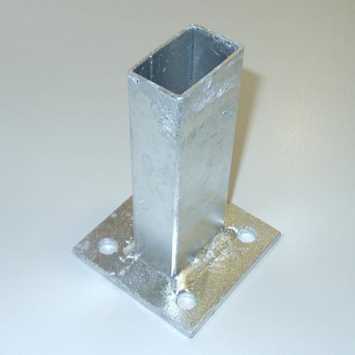 Bodenplatte für Rechteckrohr 60x40mm, 100x100x6,0mm, verzinkt