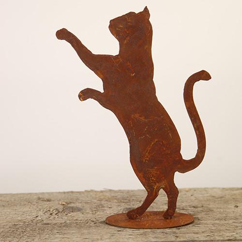 Rost Katze stehend neugierig auf Platte