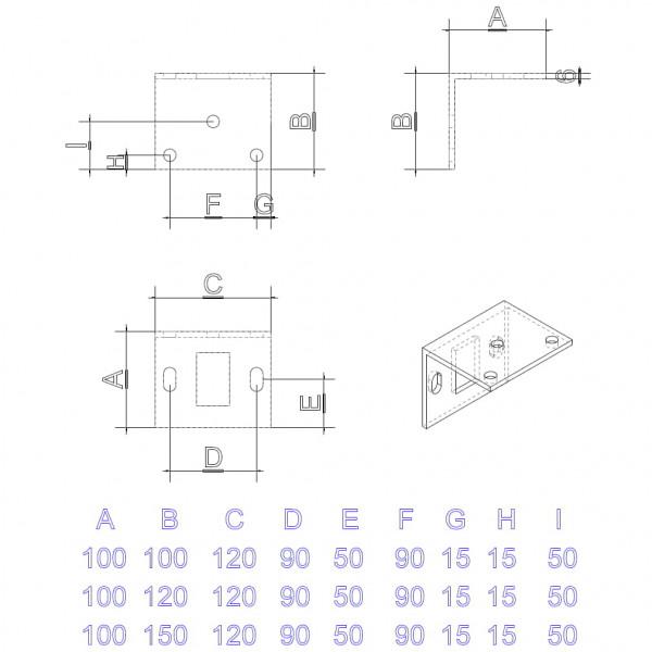 Abmessung einer Winkel - Fussplatte