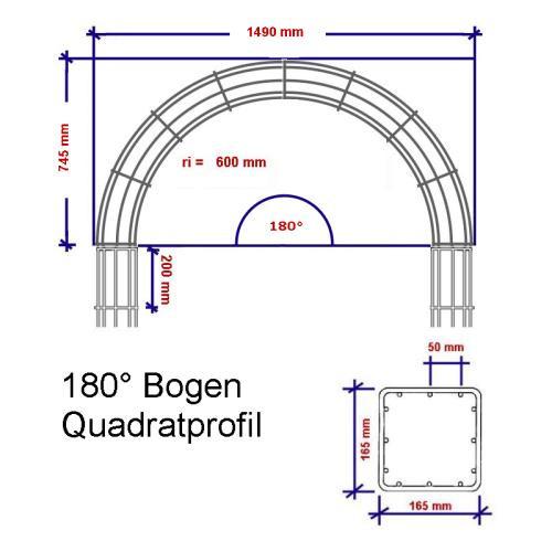 rankbalken quadratisch 180 Bogen Abmessungen w