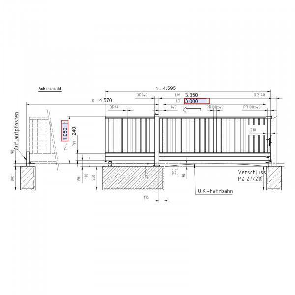 Schiebetor EntraLight 03000 x 1050 mm