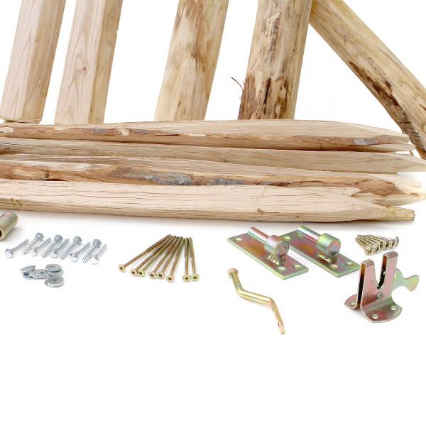 Gartentor aus Kastanien Holz inkl. Beschläge