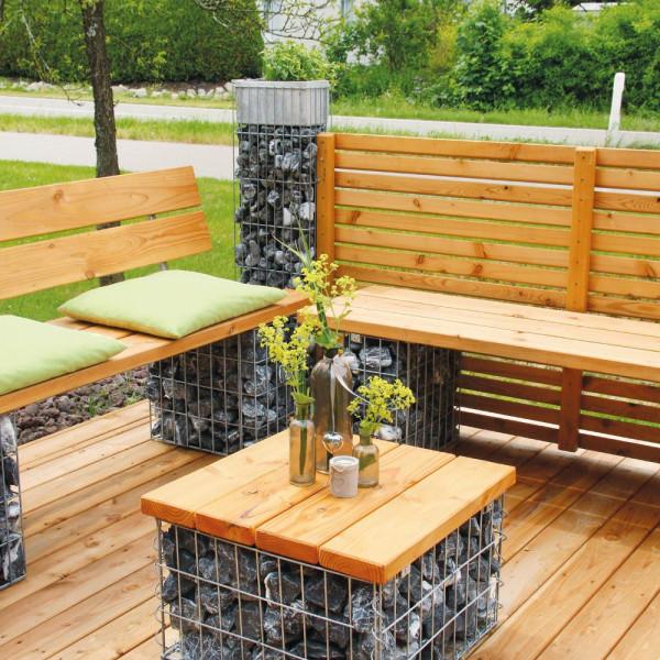Tischchen mit Holzauflage Gabionen bellissa