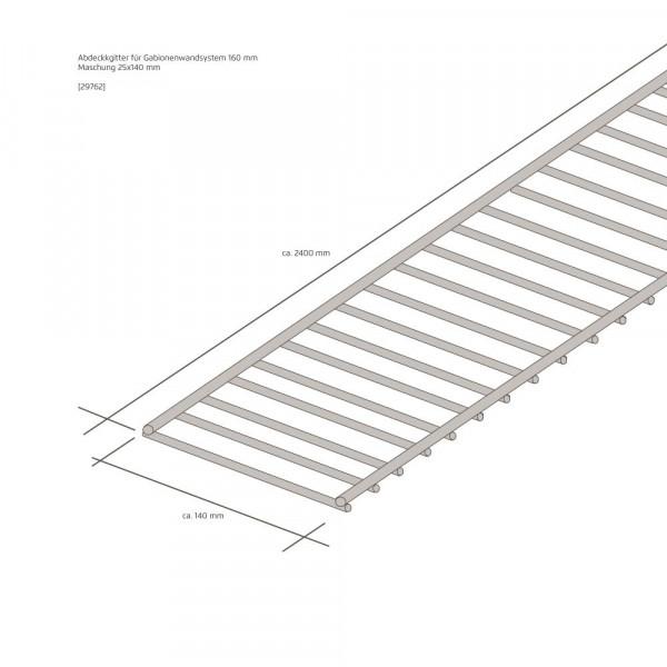 Wandsystem 160 mm Abdeckgitter mit Klammerset