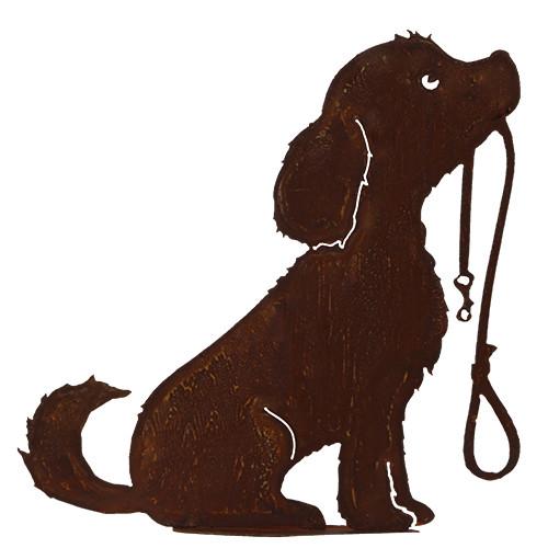 Metallkunst Rost Deko Hund auf Platte Lucy