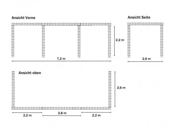 Rankanlage ca. 7,2 x 2,8 x 2,4 m verzinkt mit Bodenanker