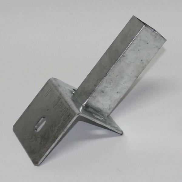 Platte für Rechteckrohr 60x40mm um Zaun auf L Steine montieren
