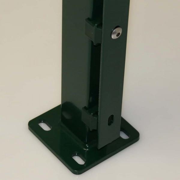 pfostenträger zum aufdübeln mit bodenplatte für zaun 180 cm in grün