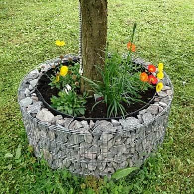 Runde Gabionen Hochbeete Käuterspirale Wasserfass Gartenteich